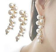 Drop Earrings Pearl Imitation Pearl Simulated Diamond Alloy Fashion Gold Silver Jewelry 2pcs