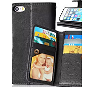 la nouvelle carte de neuf cas support photo murale PU matériel de cuir de téléphone étui pour iPhone 5 / 5s (couleurs assorties)