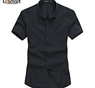 Lesmart Men's Shirt Collar Short Sleeve Shirt & Blouse Blue / Black / White / Pink - SX13092