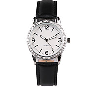 Fashion Black Leather Belt Diamond Watch
