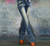 ELFSACK Women's Mid Rise Jeans Blue Casual - 1328038