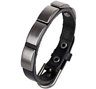 Fashion Men's Matte Black Metal Plate Punk Leather Bracelets