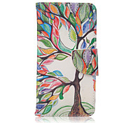 For Samsung Galaxy Case Card Holder / with Stand / Flip / Pattern / Magnetic Case Full Body Case Tree PU Leather Samsung A5(2016)