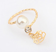 European Style Fashion Imitation Pearl Rose Ring