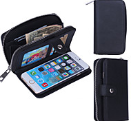Zipper Wallet Pattern Wrist Strap Genuine Leather Wallet Cases for iPhone 6 Plus