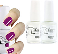 LIBEINE 1set(Color 008 + Base Coat+ Top Coat) 3PCs Soak Off 15 ML UV Gel Nail Polish Color Gel Polish
