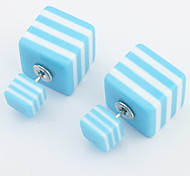 Korean Version Of Sweet Fashion Square-sided Stripe Earrings