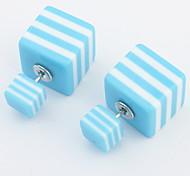 Korean Version Of Sweet Fashion Square-sided Stripe Earrings