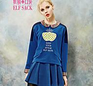 ELFSACK Femme Col Arrondi Manche Longues ensembles Bleu / Rouge - 1441029