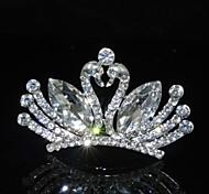 Sweet Couple Peafowl Rhinestones Alloy Platinum Plating Wedding Crown Tiaras Inserting Comb for Women 7CM