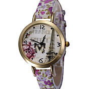 Women's Lovely Elegant Cartoon Round Dial Leather Band Quartz Analog Wrist Watch(Assorted Color)