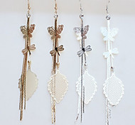 New Arrival Fashional Butterfl Leaf Tassel Earrings