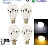 YouOKLight® 4PCS E27 5W 12*SMD5730 400LM White/ Warm White Light LED Energy saving High quality Globe Bulbs (AC 220V)