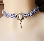Graceful Vintage Gothic Style Exquisite Lilac Purple Choker Necklace