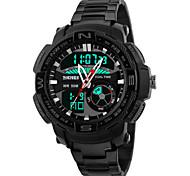 Masculino Relógio de Pulso Quartz LED / Calendário / Cronógrafo / Impermeável / Dois Fusos Horários / alarme Aço Inoxidável BandaPreta /