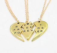 Women's Fashion Three Part Pendants Broken Heart Pendant Necklace 1pc