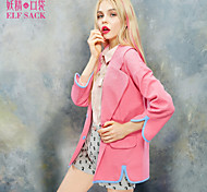 ELFSACK Women's Shirt Collar Long Sleeve Hoodie & Sweatshirt Blue / Pink - 1511002
