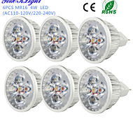 4W GU5.3(MR16) LED Spot Lampen MR16 4 High Power LED 320 lm Warmes Weiß Dekorativ DC 12 V 6 Stück