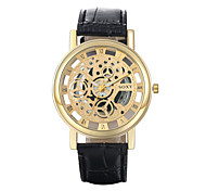 Authentic moment Leather watch Waterproof Skeleton Watch men watch Gold case quartz watch 2 Dial Color WH0019A-W Wrist Watch Cool Watch Unique Watch