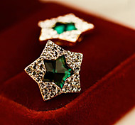 Women's Fashion Zircon Pentagram Shape Green Crystal Stud Earrings