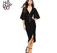 Haoduoyi Women's Deep V 1/2 Length Sleeve Knee-length Dress - 15151F452