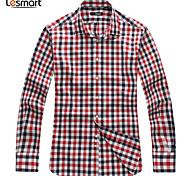 Lesmart Hommes Col de Chemise Manche Longues Shirt et Chemisier Rouge - SW14161