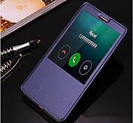 Для Кейс для Huawei / Mate 8 со стендом / с окошком / С функцией автовывода из режима сна / Флип Кейс для Чехол Кейс для Один цвет Твердый