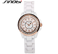 SINOBI® Girl's Fashion Rose Gold Wristwatches Waterproof White Band Women's Diamond Quartz Watches Bracelet Reloj Cool Watches Unique Watches