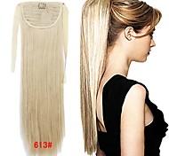 Sweety fille synthétique 22 pouces long ruban queue de cheval droite postiche eau de Javel cheveux blond