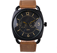 Business Style Brown Leather Belt Men's Watch
