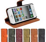 billetera mate caja de cuero de lujo con protector de pantalla para el iphone 5 / 5s