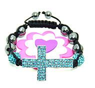 Fashion Jewelry 10MM Crystal AB Clay Disco Beaded DIY Bracelet Strand Beads Bracelets+cross Mix Colors Sales Promotion