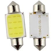 2pcs Festoon 36mm 3W 240lm 6000K COB LED White Light for Car Steering Light Bulb / Reading Lamp(DC12V)