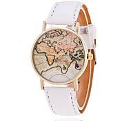 Mulheres Relógio de Moda Quartz Padrão Mapa do Mundo PU Banda Preta / Branco / Marrom marca-