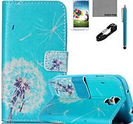 Coco patrón de diente de león Fun® pu flim cable de la caja de cuero y lápiz para el mini Samsung Galaxy S4 / S4 / S5 / s5 Mini / s6 /