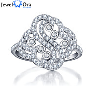 Luxurious Party Accessories 925-Sterling-Silver White Cubic Zirconia Rings For Women&Lady