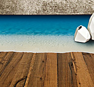 70*50Cm Fashion Blue Beach Floor Stickers Removable Living Room Bedroom Wall Decals
