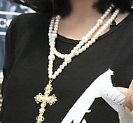 New Arrival Fashion Jewelry Rhinestone Cross Pearl Necklace