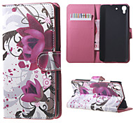 Purple Flowers PU Magnetic Leather wallet Flip Stand Case cover for Huawei Honor 4A / Y6