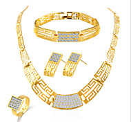 Lucky Doll Women's Luxury Gem 18K Gold Plated Zirconia Necklace & Earrings & Bracelet & Ring Jewelry Sets
