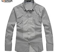 Lesmart Hommes Col de Chemise Manche Longues Shirt et Chemisier Gris - SL13613