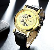 SOXY® New Design Business Precise Black Belt Gold Surface Watch Fashion Quartz Leather Watch for Men