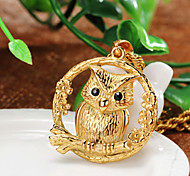 Owl on the Branch Luxury 316L Stainless Steel Casting Pendant Necklace