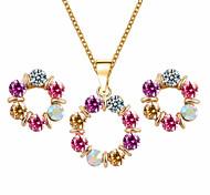 HUALUO®European Style Round Pearl Inlay Diamond Jewelry Sets