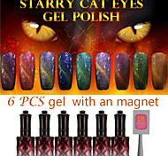 6PCS ANA Starry Cat Eyes Color Gel  With An Extra Magnet For Free Surprise For Valentine's Day