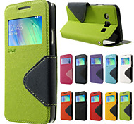 For Samsung Galaxy Case with Stand / with Windows / Flip / Magnetic Case Full Body Case Solid Color PU Leather SamsungA9 / A8 / A7 / A5 /