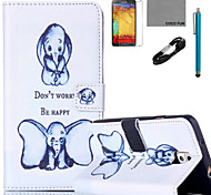 COCO FUN® Small Elephant Pattern PU Leather Case with V8 USB Cable Flim and Stylus for Samsung Galaxy Note 3 /Note 4