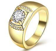 ale a caldo in oro giallo finih 925 Ilver Terling per gli uomini con gioielli zirconi ovale 6x8mm