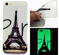For iPhone 5 Case Glow in the Dark Case Back Cover Case Eiffel Tower Soft TPU iPhone SE/5s/5