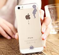 Für iPhone 5 Hülle Transparent / Muster Hülle Rückseitenabdeckung Hülle Spaß mit dem Apple Logo Weich TPU iPhone SE/5s/5